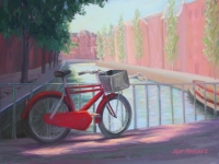 Red Bicycle Amsterdam, Pastel, 11x15